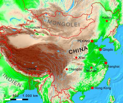 China Karte Physisch.Ihre Auswahl